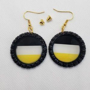 Black white & Yellow bottle top earrings Handmade